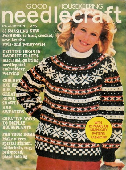 Vintage 1975 Good Housekeeping Needlecraft Magazine Sweaters Shawls Capes Knit Crochet Sewing