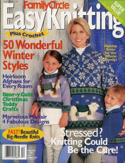 Family Circle Easy Knitting Crochet Winter 1998 Patterns Teddy Bear Afghans Holiday Sweaters