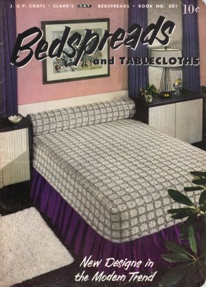 VINTAGE 50s COATS & CLARK BEDSPREADS TABLECLOTHS MOTIFS MODERN CROCHET PATTERNS