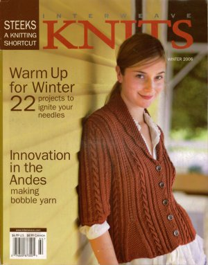 INTERWEAVE KNITS Winter 2006 Shawl Sweater Beret Hoodie Thrum Mittens Stocking