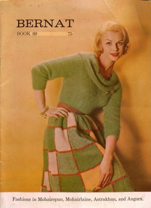 Vtg 60s Knitting Patterns Book Bernat Sweaters Skirt Stole Jacket Bolero Angora