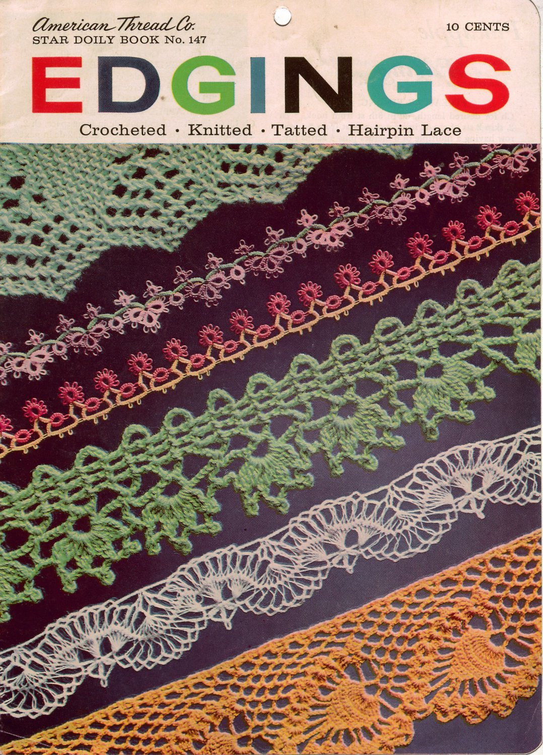 Crochet Lace Book Cover ~ Vintage crochet knitting tatting hairpin lace patterns