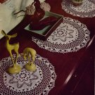 Crochet Patterns Doilies Lily Mills Place Mat Flower Rose Filet 1952