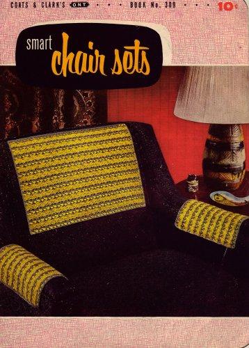 Vintage Crochet Patterns Smart Chair Sets Butterfly Reindeer Flower 1954