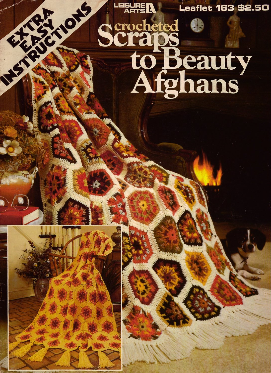 Leisure Arts 163 Crocheted Scraps to Beauty Easy Afghans Crochet Patterns 1980