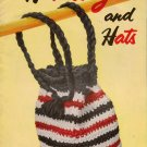 Crochet Knitting Patterns Handbags Hats Drawstring Bag Cloche Bead 1953