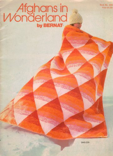 Crochet Knit Patterns Bernat Afghans Wonderland Flower Indian Plaid 1977 VTNS