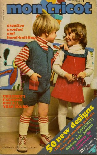 Mon Tricot Children Knitting Crochet Patterns School Sweaters Hats 1973