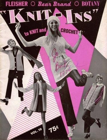 Bear Brand Knit Ins Knit Crochet Patterns Mini Dress Long Vest Tunic 1969
