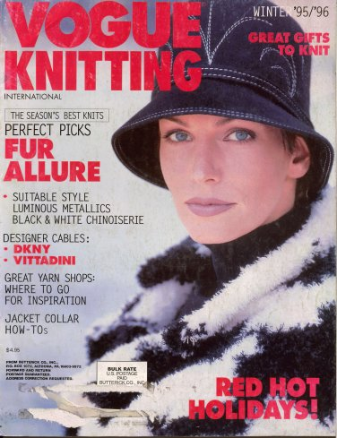 VOGUE KNITTING Winter 1995 1996 VITTADINI DKNY Metallics Mosaic Black White