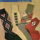 Hand Knit Socks Vintage Patterns Knee Argyle Cable Family Irish Fisherman 1950