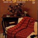 Coats Clark 203 Afghans Crochet Knit Afghan Stitch Patterns Flower Rooster 1970
