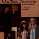 Leisure Arts 442 One Skein Accessories Knitting Crochet Patterns Hat Scarf 1986