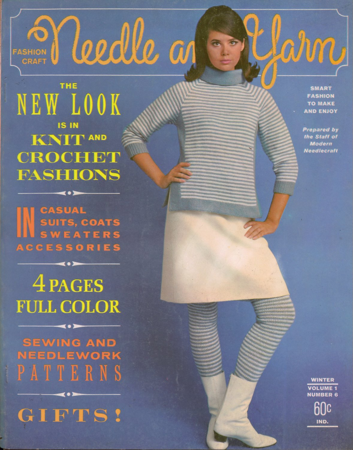 Needle Yarn #6 Fall Winter 1965 Knitting Crochet Patterns Ski Sweater Lace Dress