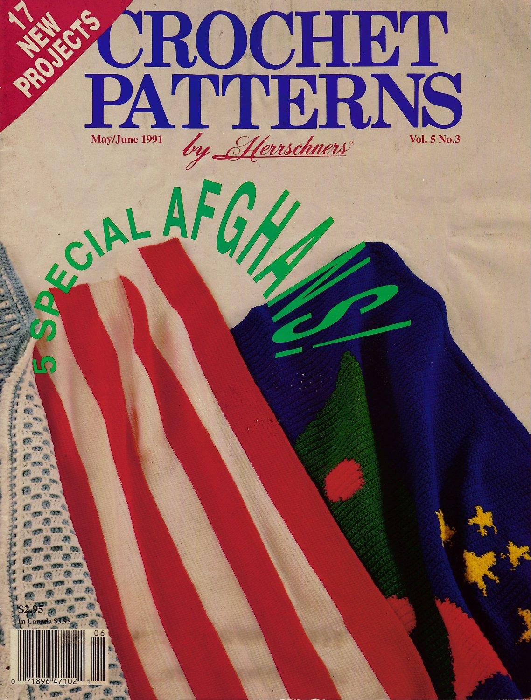 Crochet Patterns Herrschners Afghans American Flag Rocket Rug Kitchen Mats 1991