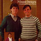 Leisure Arts 265 Knitted Raglans Men Sweaters Cardigan Knitting Patterns 1983