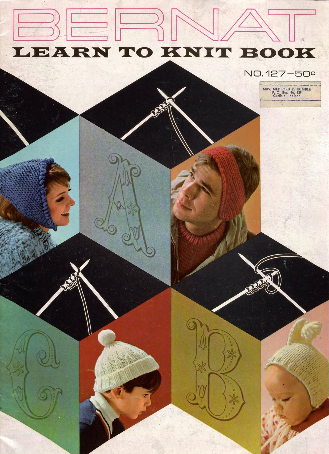 Bernat 127 LEARN TO KNIT Patterns Instruction Hat Mittens Slippers Scarf 1960