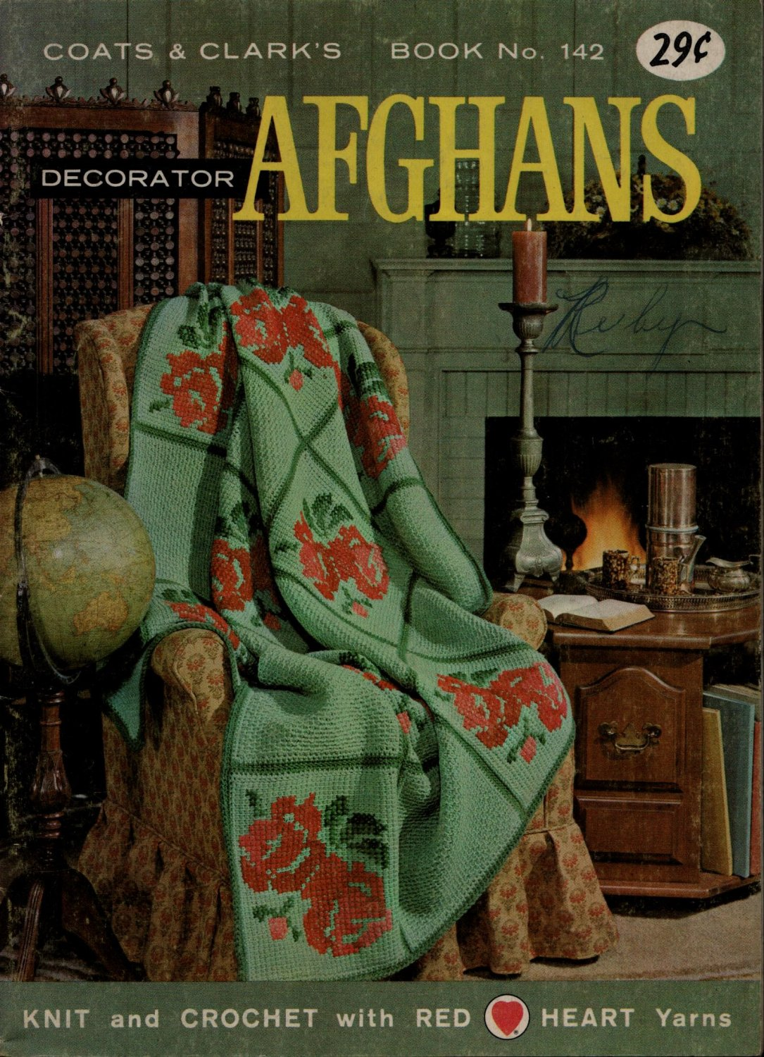 Coats Clark 142 Decorator Afghans Crochet Knit Patterns Butterfly Stitch 1963