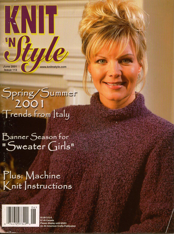 Knit n Style June 2001 Sleeveless Ribbon Tops Shell Machine Knitting Patterns
