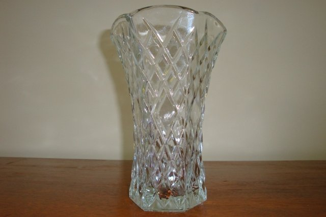 VINTAGE E.O. BRODY CLEAR GLASS VASE