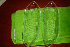 Vintage Clear Glass Corn Cob Holders Set of 4