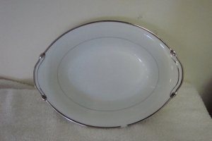 HARMONY HOUSE FINE CHINA SILVER MELODY OVAL SERVING BOWL