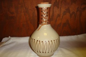 CONTEMPORARY ART POTTERY WATER JUG W/CORK ARTIST SIGNED