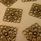 Antiqued Gold Scalloped Floral Brass Square Stampings 12 pcs