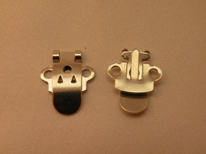 Shoe Clips Silvertone Metal Blanks 12 pcs
