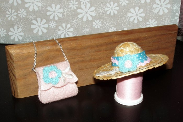 Barbie Doll Clothes Handmade Handbag and Hat