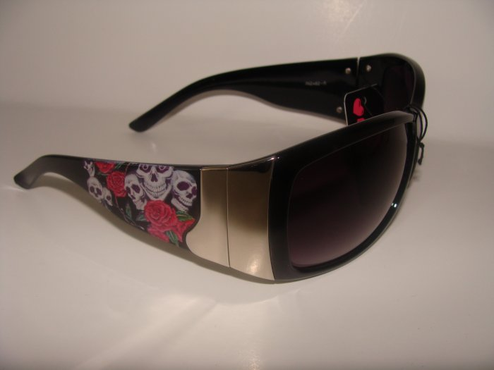 Black Skull/Rose Sunglasses