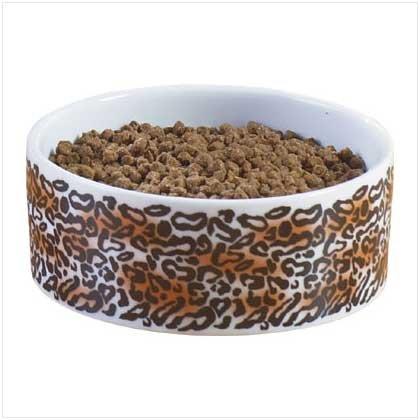 37107 Leopard Print Ceramic Dog Bowl