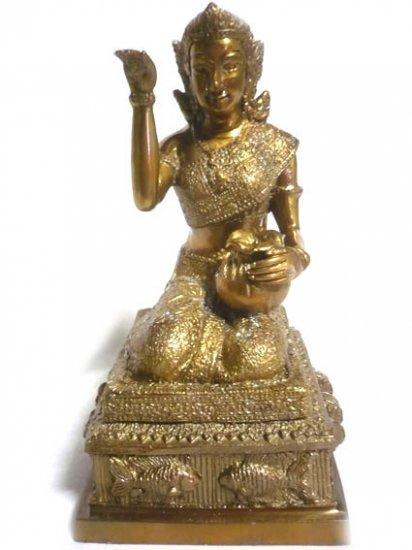 "Thai Bronze Nang Kwak Goddess Statue : Size 8""x4.5"""