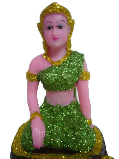 Thai style tree nymph / Wood Fairy Goddess Statue /Color : Green