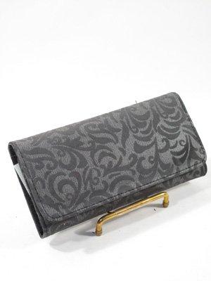 Black paisley trifold checkbook wallet