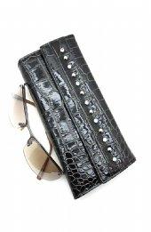Black Patent Leather studded tri fold wallet Black leatherette