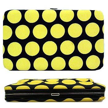 Yellow black Polka Dot Flat Frame Wallet