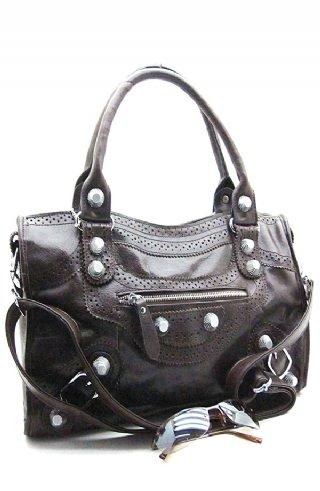 Celebrity Genuine Leather shoulder Handbag purse brown