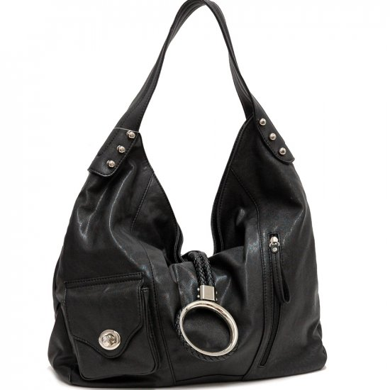 Black front flap hobo handbag purse