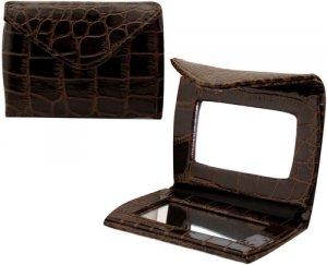 Brown Croco Envelope Compact Mirror