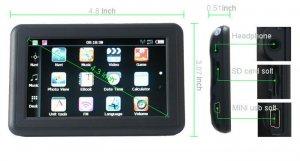 "New 4.3""  GPS Slim Design FM MP3/4 4GB FREE MAPS"