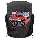Leather Biker Vest with Route 66 Theme