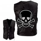Motorcycle Vest with Skull and Crossbones
