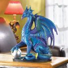Large Blue Dragon Figurine