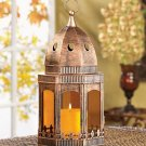 Copper / amber Candle Lantern