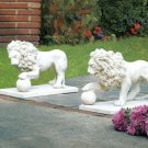 Stately Lion Statue Duo