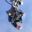 Silver Star with Yellow Blue Green and  Pink Rhinestones Cell Phone Charm