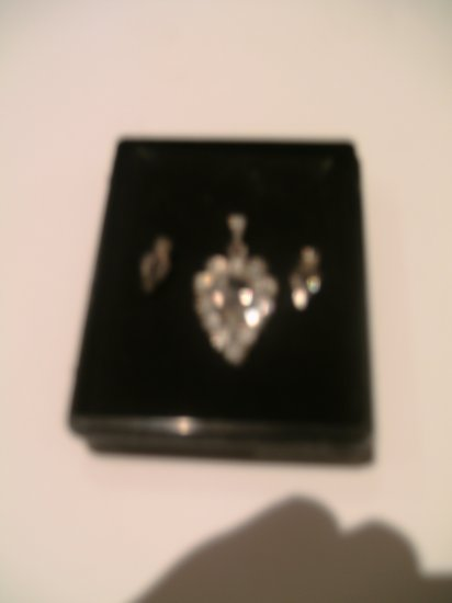 Three Piece Sterling Silver and Diamante Pendant & Earring Set