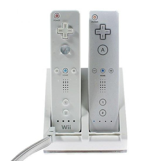 Blue Light 2 x 2800mAh Battery Packs with Dual Controller USB Charging Station for Wii