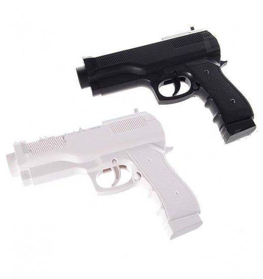 Black + White Pistol Gun Controller for Wii Remote